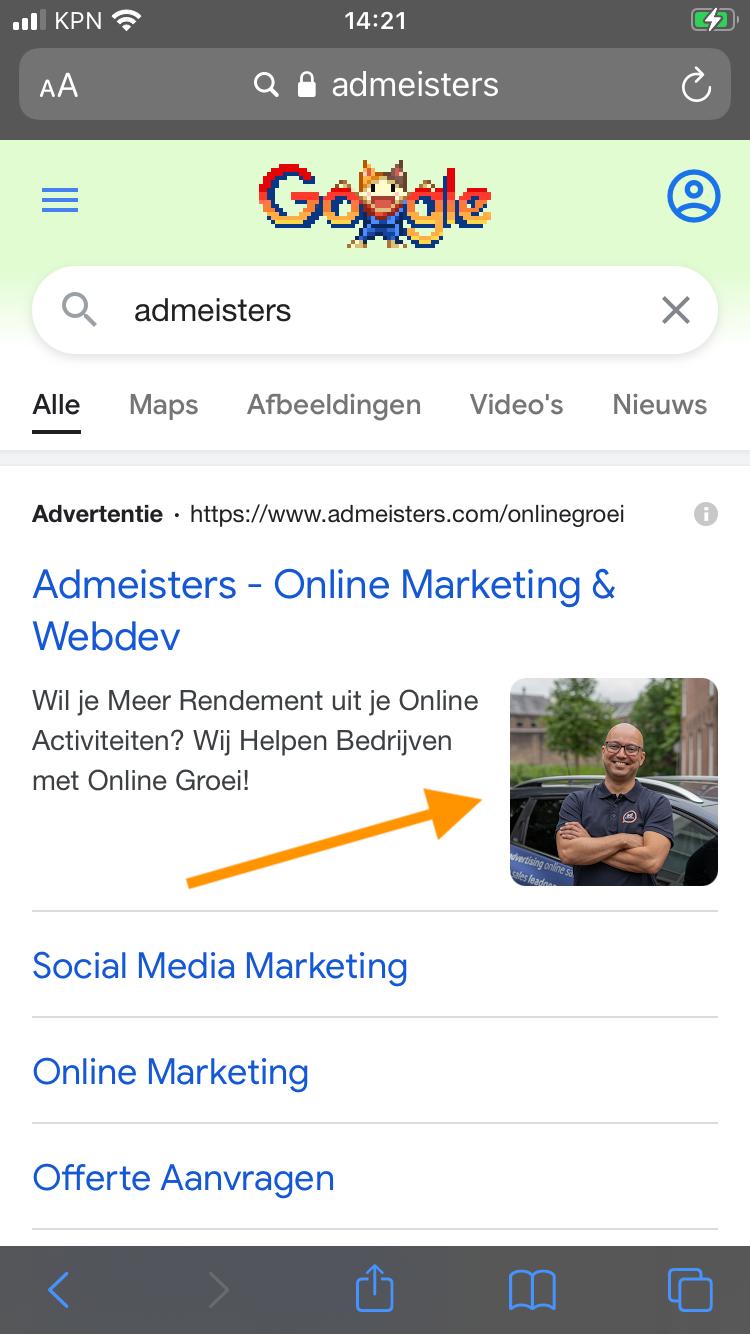 Voorbeeld Beeldextenties Google Ads Zoekadvertenties